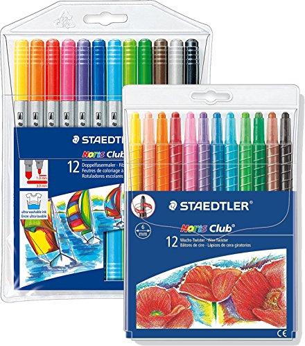 Staedtler Noris Club Doppelfasermaler, rund, circa 1,0 mm, Set mit 12 brillanten Farben, 320 NWP12 + Wachs-Twister, Wachs-Malstifte, Set mit 12 brillanten Farben, 221 NWP12