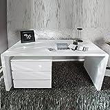 MODERNER DESIGN SCHREIBTISCH 'HELSINKI' holztisch bürotisch 140 cm hochglanz Tisch weiß