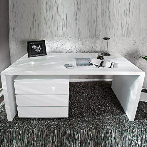 Moderner Design Schreibtisch Helsinki | 140 cm, weiß, Hochglanz | edler Bürotisch, Holztisch