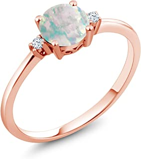 10K Rose Gold Cabochon White Simulated Opal and White Created Sapphires Women's Engagement Solitaire Ring (0.33 Cttw, Available 5,6,7,8,9)