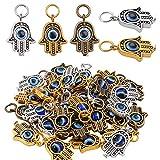 Pendentif Mauvais Oeil, 30pcs Pendentif Main de Fatma Pendentifs Breloques Alliage Pendentif Charms pour Bracelet Collier...
