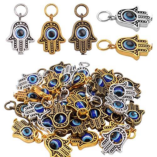 Aylifu Schmuck Charm Anhänger, 30 STK. Hamsa Hand der Fatima Anhänger Charm Hamsa Evil Eye Anhänger Perlen Basteln Charms für Ohrringe, Halsketten, Armbänder - 3 Farben