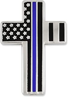 Thin Blue Line American Flag Cross Police Officer Enamel Lapel Pin