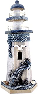 "Chaomian Home Ornaments Anchor Wooden Lighthouse 10.6"" High Nautical Themed Rooms Lighthouse"
