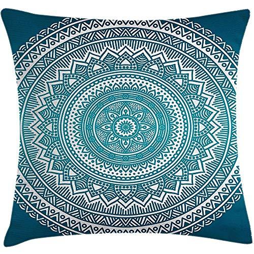 GWrix Funda de cojín de Color Turquesa Ombre Throw Pillow,Mandala Medal Starry...