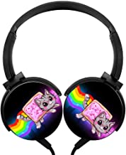 PjNnt Nyan Cat Deep Bass Wired Headphones Stereo Hi-Fi Over-Ear Earphone Black