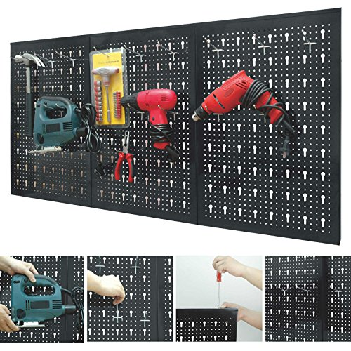 Marko Storage Solutions Peg Board Garage Wall Tool Rack 3 Panel Hanging Storage Shed Tidy Steel Pegboard