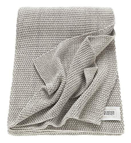 Schöner Wohnen Kollektion Tagesdecke 130x170 Baumwolle • unifarbene Kuscheldecke Melange • mehrfarbige Pastellgarne • gestrickte Sofadecke grau