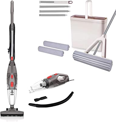 MOOSOO Vacuum Cleaner, 4-in-1 Upright Vacuum Stick Vacuum Cleaner LT450, Sponge Mop and Bucket Set with 2 Pcs Self Cleaning