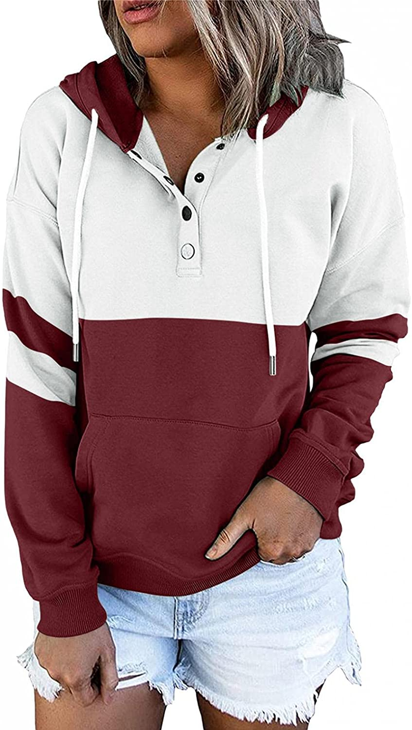 felwors Hoodies for Women, Womens Pullover Hoodies Button Down Long Sleeve Color Block Casual Sweatshirts with Pockets
