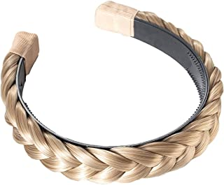 Madison Braids Women's Hard Headband Hair Braid Natural Looking Synthetic Hair Piece - Lulu - Ashy Highlighted