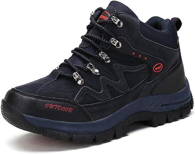 SELCNG Chaussures de randonnée Unisexes Chaussures de Marche imperméables Chaussures de Marche pour Hommes avec Chaussures de randonnée pour Sports de Plein air-bleu-47