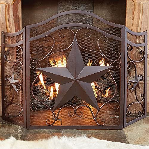 BLACK FOREST DECOR Lone price Fireplace Scroll Screen Star A surprise price is realized