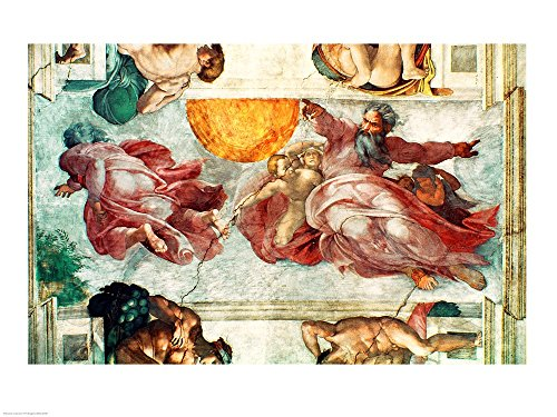 Sistine Chapel Ceiling: Creation of The Sun and Moon, 1508-12 by Michelangelo Buonarroti Art Print, 43 x 32 inches