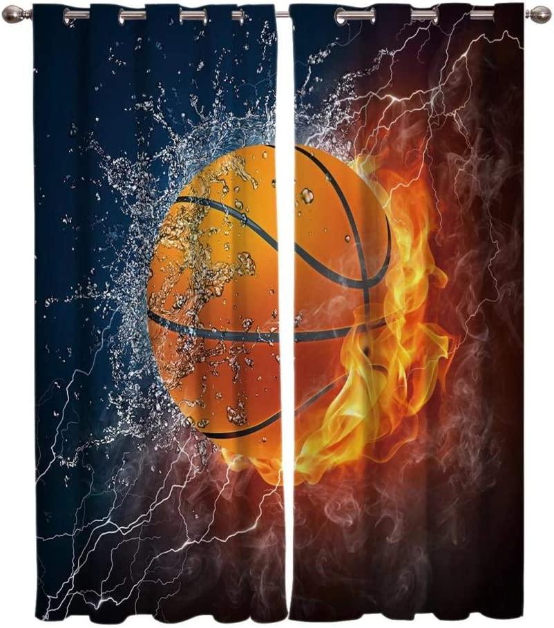 Zzmdmn Basketball Window Direct sale of manufacturer Treatments Ki Curtains Room New color Kids