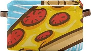 Paniers de rangement Boîte à étagères pour organisateur de placard à pizza avec poignée Bacs de rangement décoratifs Panie...