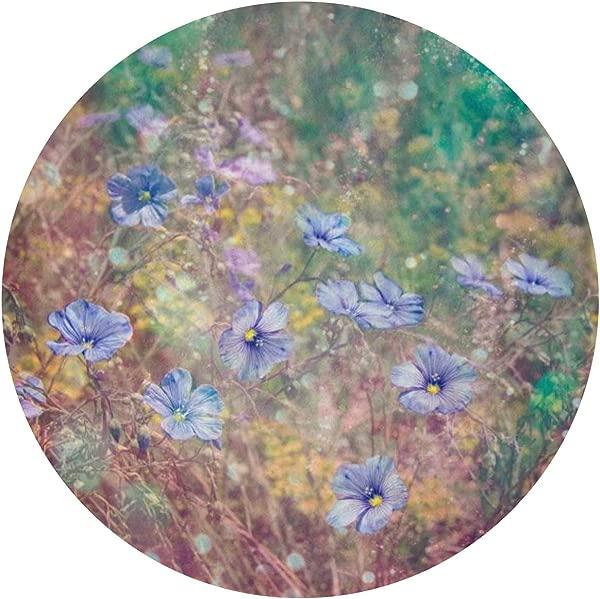 Qbeir Front Doormat Rug Blue Flower Entrance Floor Mat Non Slip Circular Diameter 60CM