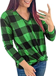 Women Blouses Tops Buffalo Check Plaid Long Sleeve Collar Neck Casual Shirts, LONGDAY Loose Pullover Tunic Sweatshirt