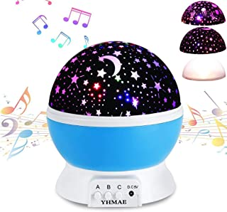 Music Night Light Lullaby,YHZO Rechargeable Stars Moon projector Lamp, 4 LED Bulbs 9 Light Color Changing(3.2FT USB Cord) ,360 Rotation,12 songs ,Gift for Babies Children,Nursery(Blue)