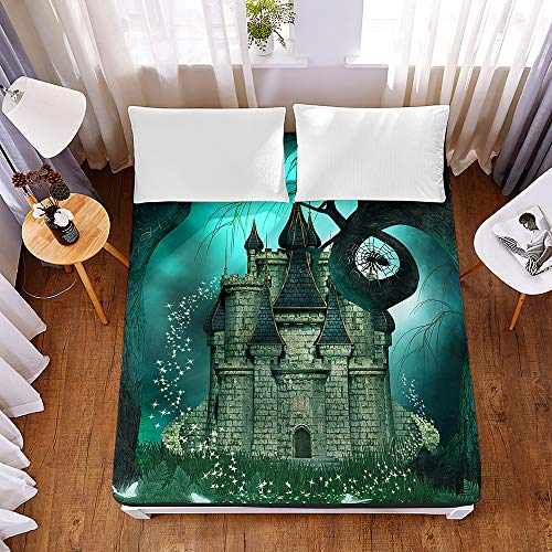 3D Fantasy Castle Cliff Forest Fitted Sheets 30cm Deep 100% Polyester Blend Soft and Comfortable Sheets Machine Washable Breathable Fabric (#4,Super King)