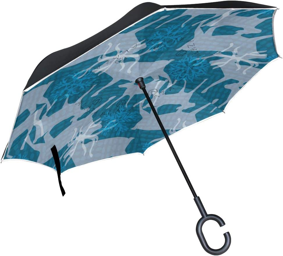 Stag And Calf Pattern With Snowflakes Rainproof and Windproof UV Protection Double Layer Folding Inverted Umbrella with C-Shaped Handle Reverse Umbrellas For Car Rain Outdoor