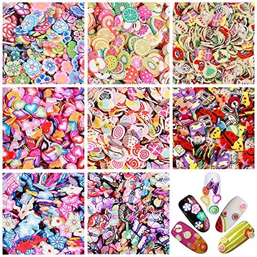 Yueser 8000 Stück 3D Nagel Obst Scheiben Gemischt Bunt Nagel Kunst Strass für Nail Art DIY Maniküre Dekoration Nagelkunst Supplies (8 Stile)