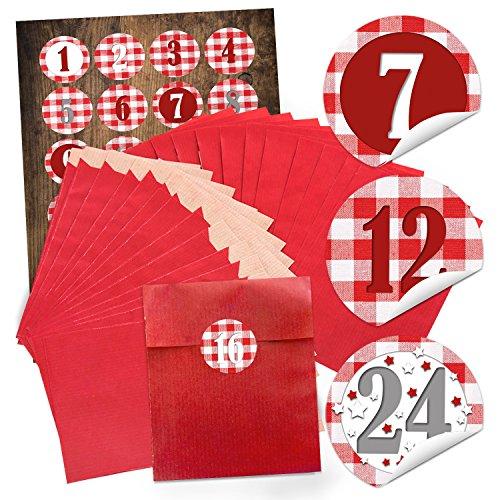 Logbuch-Verlag 24 rote Geschenktüten Weihnachten Weihnachtstüten SET (13 x 18 cm) + 24 runde Aufkleber 4 cm rot weiß Zahlen 1-24 z. Befüllen