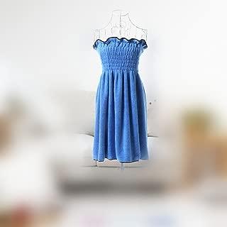 Etbotu Cute Coral Velvet Off-shoulder Bathrobe,Strapless Wrap Princess Dress,Super Soft Warm and Comfortable,for Women