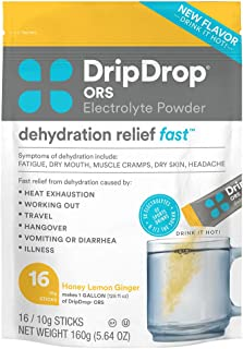 DripDrop ORS Hot - Patented Electrolyte Powder For Dehydration Relief Fast - For Illness, Cold & Flu Recovery - Honey Lemo...