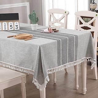 pridesong algodón y Lino Mantel Bordado de Encaje Gris Mantel Mantel Rectangular Mantel de Borla Gris Claro 55 * 7 1 Pulga...