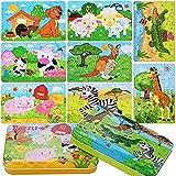 Fabu 8Pcs Puzzles de Madera 56 Piezas, Bloques de Rompecabezas de Animales Juguete Educativo Montessori, Madera Puzzles Infantiles 3 4 5 años