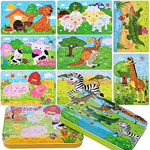 Faburo Puzle de madera, juegos de rompecabezas de 56 piezas, apto para rompecabezas para niños de 2 a 3 años, educativo juguetes Montessori Set