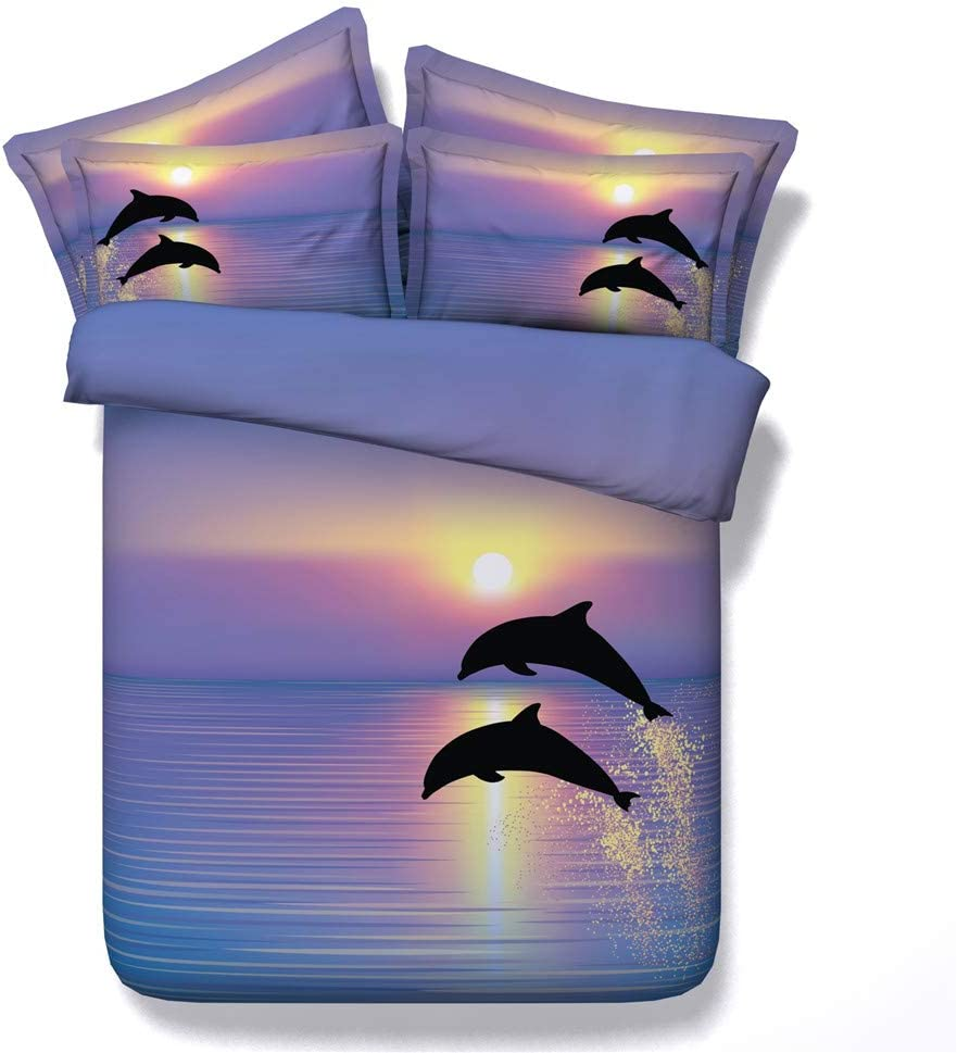 Colorful Indianapolis Mall Ocean and Houston Mall Dolphins Under Duvet Cover Sunshine S Bedding