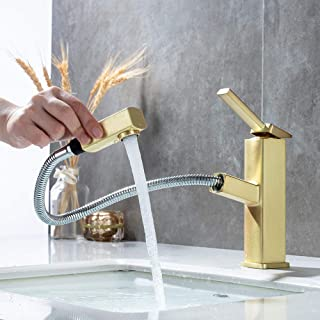 KAIYING Bathroom Pull Down Vessel Sink Faucet, Lavatory Single Hole Basin Sink Faucet with Pull Out Sprayer, Single Handle Utility Kitchen Mixer Tap with Rotating Spout, Brass (Regular, Brushed Gold)