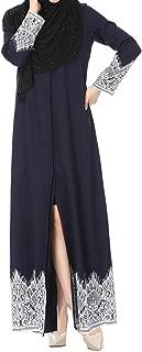 Ganenn Women Muslim Dress Dubai Kaftan Long Sleeve Long Dress Abaya Islamic Clothing Gown Jalabiyas (Large, Navy)