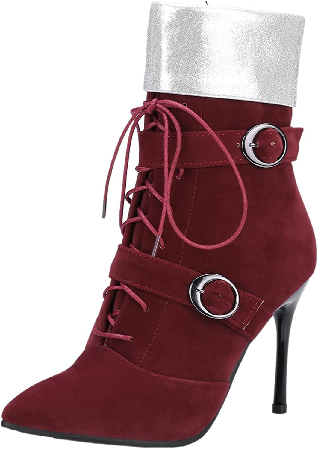 Rongzhi Womens Ankle Boots Stilettos Pumps Heels Lace Up Zip Buckle Strap Dress Suede Booties Pointed Toe