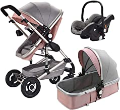 Belecoo Baby Stroller 3 in 1 Newborn Bassinet Cradle Type Child Safety Seat Baby Carriage Basket Baby Car Travel System (Pink)