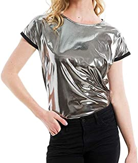 Women Girls Shiny Metallic Round Neck Short Sleeves T-Shirt Tank Tops Blouse Tee for Rave Party Clubwear Festival
