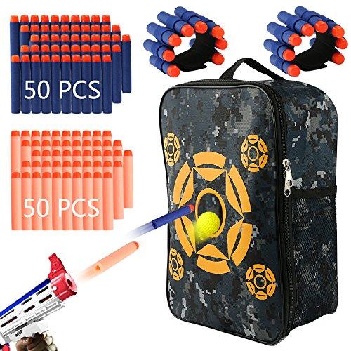 Sac de cible avec 100 fléchettes en mousse souple, 2 bandes pour poignet, Sac de rangement pour porter le matériel de cible pour sacs Nerf N-Strike Elite, Mega et Rival Series.