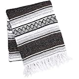 Zulay Home Authentic Mexican Blankets - Hand Woven Yoga Blanket & Outdoor Blanket - Artisanal Boho Blanket & Mexican Falsa Blanket for Beach, Picnic, Camping, or Home Throw Blanket (Brown Light Gray)