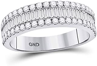 FB Jewels 14kt White Gold Womens Baguette Diamond Fashion Anniversary Ring 1 Cttw