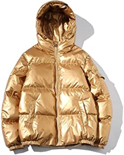Abeaicoc Mens Winter Metallic Quilted Padded Hooded Outerwear Thick Down Parka Coat