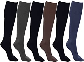 Women's Trouser Socks, Opaque Stretchy Nylon Knee High, Many Colors, 6 or 12 Pairs