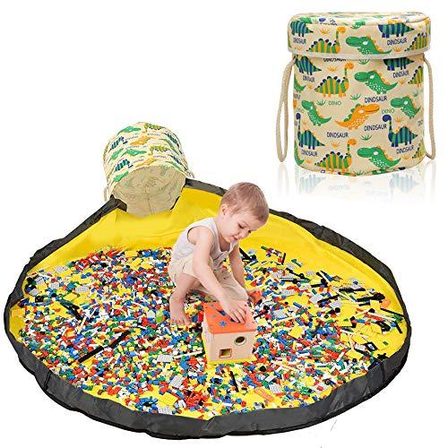Aufräumsack Kinder, Aufbewahrungsbeutel für Kinderzimmer, Spieldecke Aufräumsack, Aufbewahrung Beutel Spielzeug, Aufbewahrungsbox mit Deckel, Spielzeug Aufbewahrung Tasche (Dinosaurier)