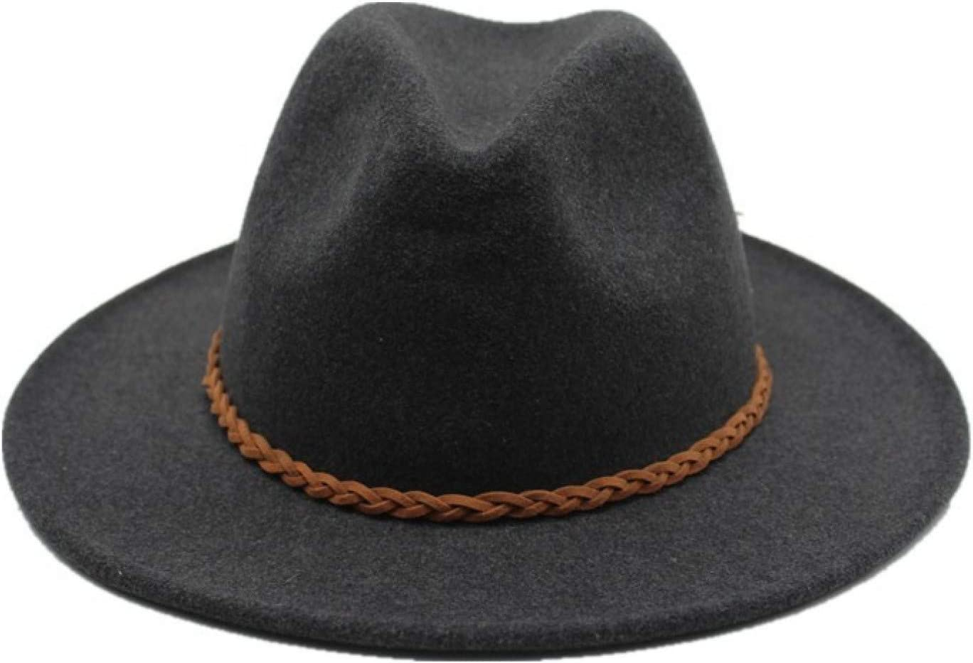 BAJIE Fedora Wool Felt Hat With Ribbon Band Jazz Formal Top Hat For Men And Women