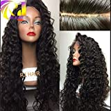 RJ Hair 4x4 Silk Base Full Lace Wig Kinky Curly Natural Scalp Brazilian Virgin Human Hair Silk Top Lace Front Wigs Natural Hairline (24'Silk Top Full Lace Wig)