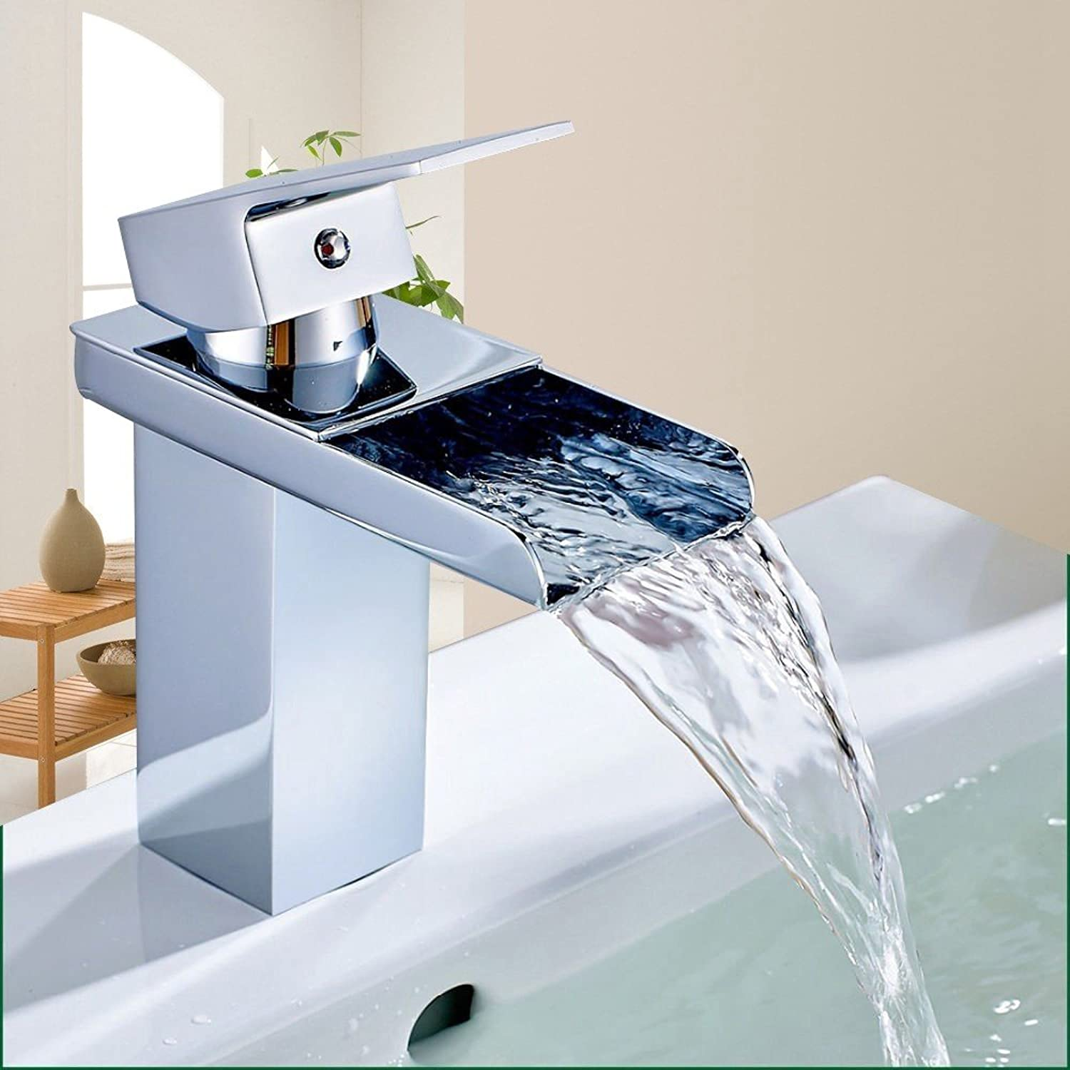 Hardware bathroom copper waterfall faucet hot and cold basin faucet Modern Style Wide Waterfall Spout Single Handle Hot And Cold Device Chrome Finish Bathroom Basin Sink Mixer Tap Faucet