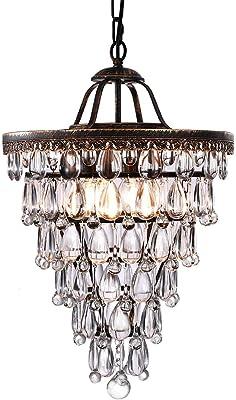 3 Tier Beaded Pendant Lamp Shade 8.7in Diameter Ceiling Light Chandelier