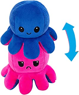 Cute plush doll reversible octopus switchable emoji octopus doll(Dark blue + rose Red)