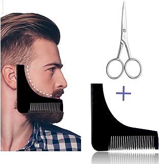 Plantilla para el cuidado de la barba con tijeras y peine ayuda para afeitar tres días de barba